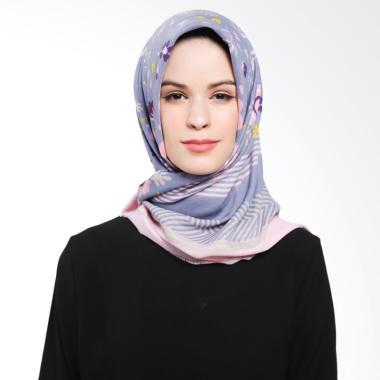 Ansania Saudia 03 Motif Flower Stripe Jilbab Segiempat - Blue