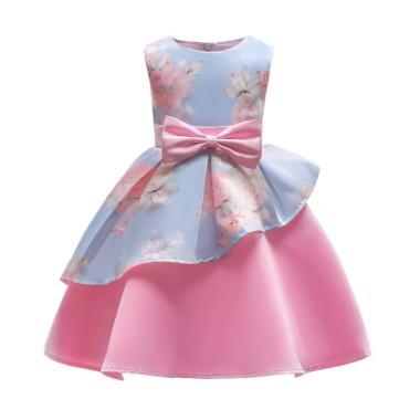 Tong-Tong Mi Printed Flower Dress Anak Perempuan - Pink