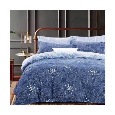Ellenov Blue Leaves Katun Jepang Super Set Sprei dan Bed Cover