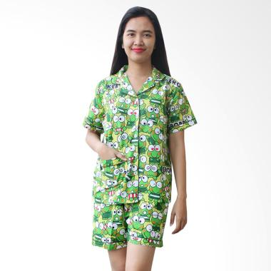 Aily 377 Motif Keroppi Katun Jepang Setelan Baju Tidur Wanita - Hijau