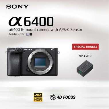 harga SONY Center Jakarta - SONY Alpha a6400 Kit / ILCE-6400L Kamera Mirrorless Lensa E 16-50mm F3.5-5.6 OSS Bundling NP-FW50 Black Blibli.com