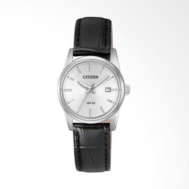 Citizen EU6000-06A Dial Leather Strap Jam Tangan Wanita - White Black