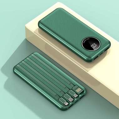 Power Bank terbaru/ Power Bank Fast Charging Murah Mini PowerBank 10000 mAh with Kabel Data Iphone Type-C Micro USB Dark Green