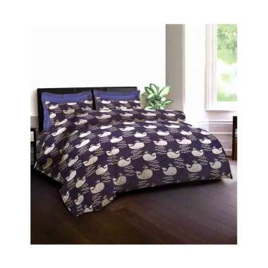 King Rabbit Motif Blue Whale Jeans Set Sprei - Biru