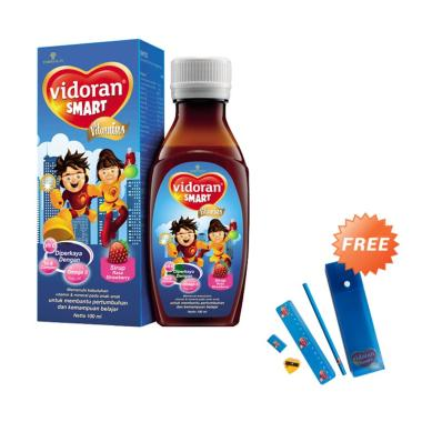 Vidoran Smart Strawberry Syrup Vitamin Anak [100 mL] + Free Tempat Pensil dan Alat