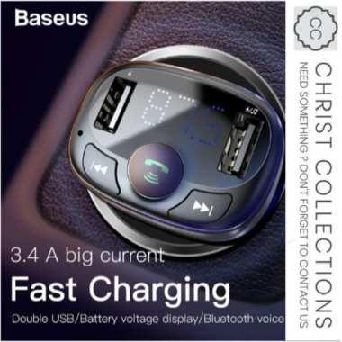 Jual BASEUS DUAL USB CAR CHARGER FM TRANSMITTER MODULATOR MP3 PLAYER Limited