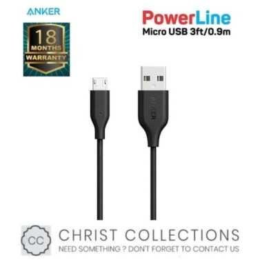 Promo ANKER KABEL DATA MICRO USB FAST CHARGING POWERLINE 3FT09M - A8132 - Hitam Diskon