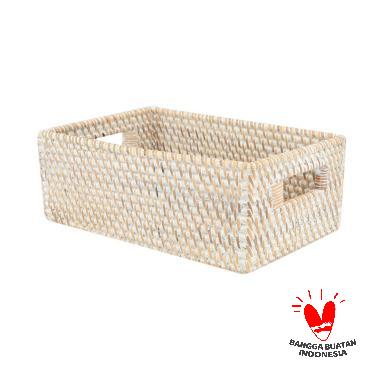 harga Kerajinan Lokal Rotan Segiempat Kotak Penyimpanan - White Wash [Size S] Blibli.com