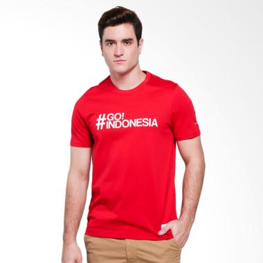 harga Giordano National Day Print Tee #GO Indonesia T-Shirt Pria - Red Blibli.com