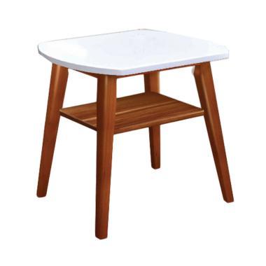 Creova Kayu Meja Sudut Solid Putih