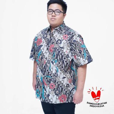Julien Big Size 15957 Kemeja Batik Lengan Pendek Pria - Biru