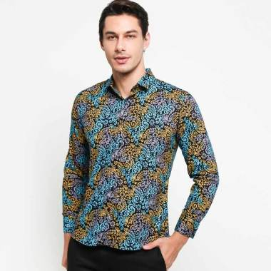 Vm Slimfit Panjang Kemeja Batik Pria Hijau Kombinasi