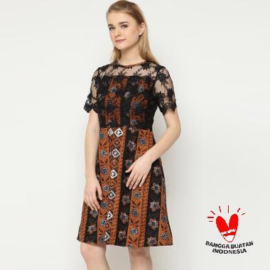 Benangsari Fadira Terusan Dress Batik Wanita Brown Black