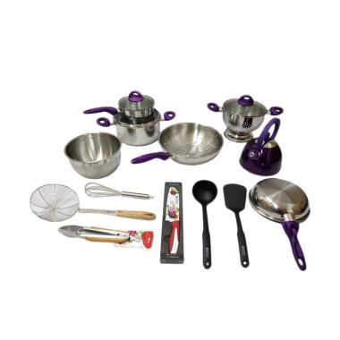 Supra Rosemary Cookware Set Panci - Ungu [18 pcs]