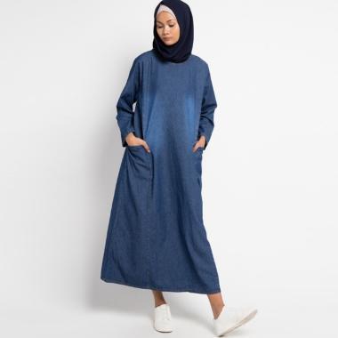 Zahra Signature Long Sleeve Denim Long Dress Muslim Wanita