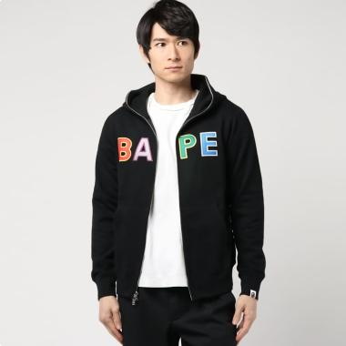 A Bathing Ape Applique Hoodie Jacket Pria - Black