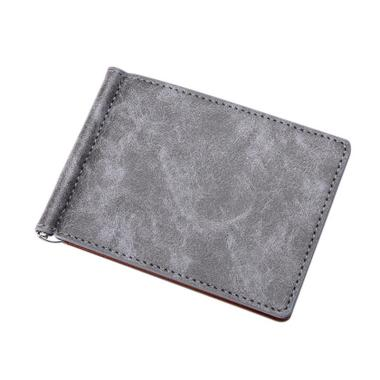 harga Bluelans Men Faux Leather Slim Cash Bifold Wallet ID Card Slot Holder with Metal Clip grey Blibli.com