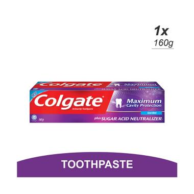 WHS - Colgate Maximum Cavity Protection Sugar Acid Neutralizer Cool Mint  Toothpaste Pasta Gigi [160 g]