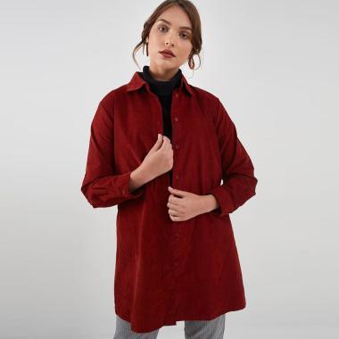 Berrybenka Rayven Long Shirt Top Atasan Wanita - Terracota