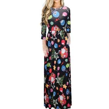 harga Women Floral Print Long Sleeve O-Neck Tight Waist Maxi Dress Christmas Costume 14# Blibli.com