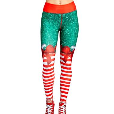 harga Bluelans Christmas 2 Snowman Santa Claus Stripe Print Leggings Stretch Yoga Pants Women Blibli.com