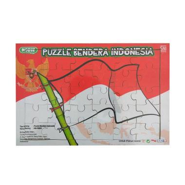 Mainan Kayu Pintar Bendera Indonesia Puzzle Sticker
