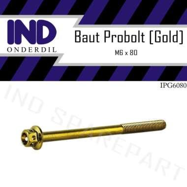harga IND Onderdil M6x80 Probolt Baut Motor - Gold [Kunci 8] Blibli.com