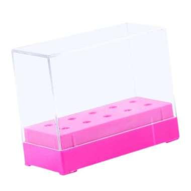 harga 10 Slot Nail Drill Bit Organizer Storage Box Display Stand Case w/ Clear Lid Rose Red Blibli.com