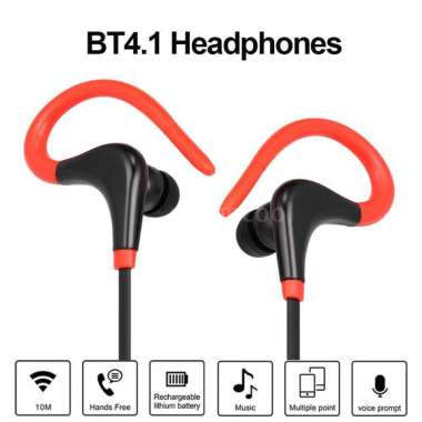 harga Free Shipping/ DELIVE Ear-hook headphones Sport Fitness Bluetooth Headset With Mic For Smartphone Red--Free Fast Shipping Jakarta0-4day Red Blibli.com