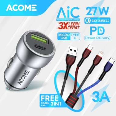 harga Promo Terbaru! Car Charger ACOME Type-C-USB 3.0 PD-QC 3.0 AIC Fast Charging iPhone Multicolor Blibli.com