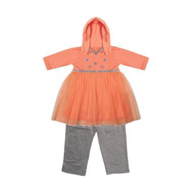 Eyka Setelan Gamis Toddler - Peach Grey