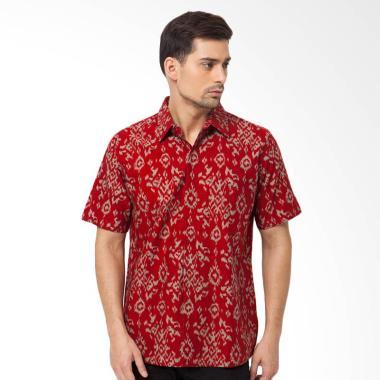Asana Tenun Short Sleeves Batik Pria - Red