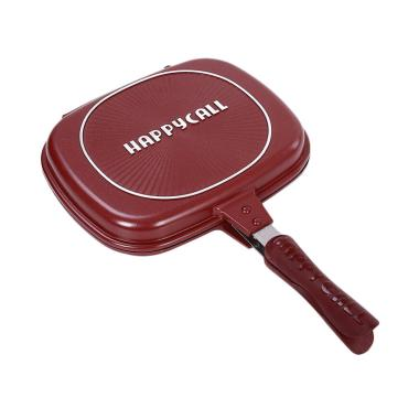 Happycall Double Fry Pan Pemanggang ... iller Besar - Red [32 cm]