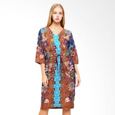 Anakara Cordy Cloudy Garden Kaftan Mini Dress - Blue