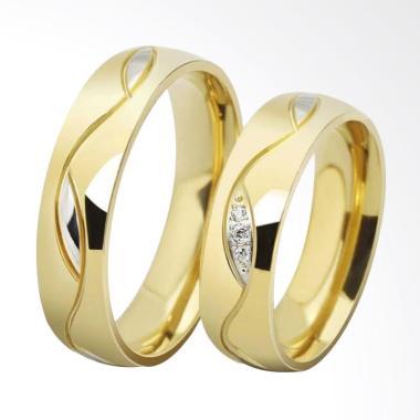 CDHJewelry Titanium Anti Karat CC086 Cincin Couple [Female 7 & Male 7]