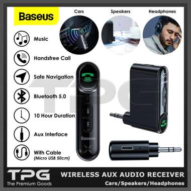 harga BASEUS CAR WIRELESS AUX AUDIO RECEIVER BLUETOOTH SPEAKER HEADPHONE MP3 Blibli.com