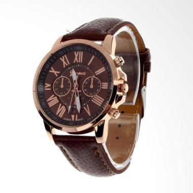 Geneva Fashion Leather Jam Tangan Wanita - Cokelat