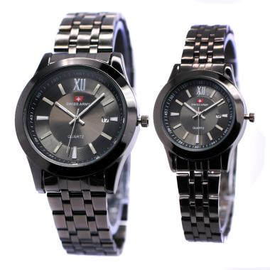 Swiss Army Stainless Steel Jam Tangan Couple - Black 0041