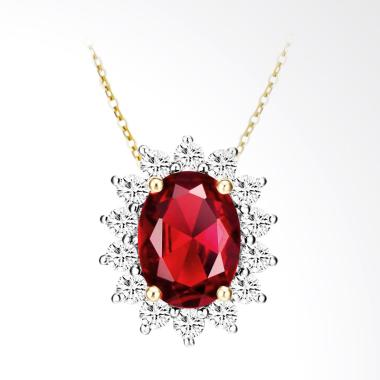 Tiaria 18K Radiant Shine Red Garnet Yellow Gold Perhiasan Kalung Emas