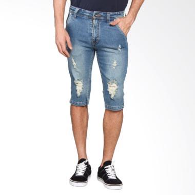 Bronco 3142 Denim Shorts Ripped Celana Pendek Pria - Blue