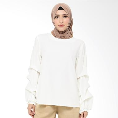 Xq Moslem Wear Hana Top Blouse Muslim - White