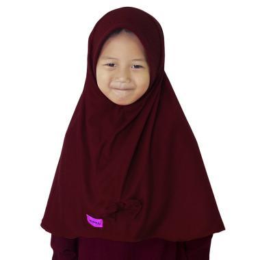 BajuYuli Kerudung Polos Pita Cantik Jilbab Anak - Maroon Burgundy