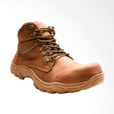 Frandeli Drackor Work Shoes Safety Boots Sepatu Pria - Brown