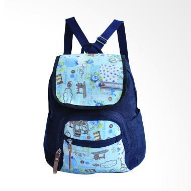 Amooba Serut Rainbow Backpack Wanita - Biru