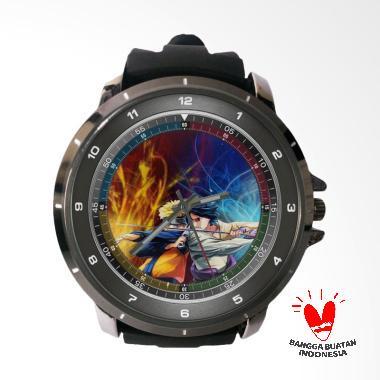 Fika Naruto Keren Rubber Custom Jam Tangan Pria - Black