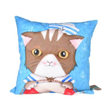 Salse Living Sailor Cat Kanvas Bantal - Biru [40 x 40 cm]