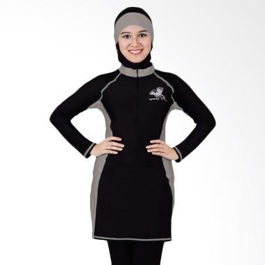 SPORTE Baju Renang Wanita Muslimah - Hitam Abu [SP 03]