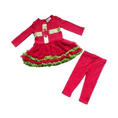 Lnice Dress Tutu Rare Pita dan Legging Setelan Pakaian Anak -  Red