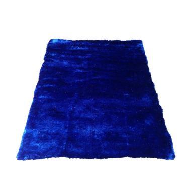 Tren-D-rugs Karpet Shaggy Polos - Biru [150 x 200 cm]
