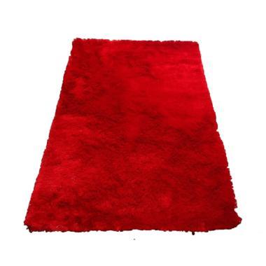 Tren-D-Rugs Karpet Shaggy Polos - Merah [100 x 150 cm]